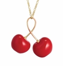 Franz Porcelain Collection Cherry Gold Plated Brass Necklace