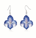 Franz Collection Porcelain Jewelry Blue Iris Flower Rhodium Plated Brass Earrings Pierced