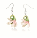Franz Collection Porcelain Jewelry Magnolia Flower Rhodium Plated Brass Porcelain Earrings Pierced