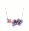 Franz Porcelain Collection Jewelry Hydrangea & Ladybug Flower Rhodium Plated Brass Porcelain Necklace