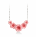 Franz Jewelry Ruby Regis Flower Rhodium Plated Brass Porcelain Necklace