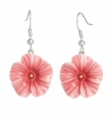 Franz Collection Porcelain Jewelry Ruby Regis Flower Rhodium Plated Brass Porcelain Earrings Pierced