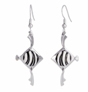Franz Porcelain Collection Angelfish Design Sculptured Porcelain Earrings Pierced