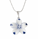 Franz Porcelain Collection Baby Five Spot Flower Design Sculptured Porcelain Necklace