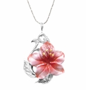 Franz Porcelain Collection Azalea Flower Sculptured Porcelain Necklace