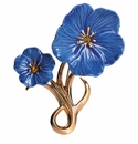 Franz Collection Blue Flax Flower Sculptured Porcelain Brooch