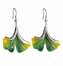 Franz Collection Gingko Flower Sculptured Porcelain Earrings