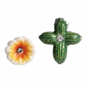 Franz Collection Cactus Flower Sculptured Porcelain Earrings