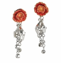 Franz Collection Peony Porcelain and Silver Earrings