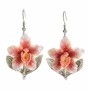 Franz Collection Orchid Design Sculptured Porcelain Earrings