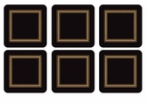 "Pimpernel Classic Black 4.25"" Square Coasters (Set of 6)"