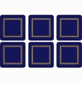 "Pimpernel Classic Midnight Blue 4.25"" Square Coasters Set of 6"
