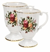 "Royal Albert Old Country Roses Fluted Mugs Set of Two 5.25"" 10 oz"