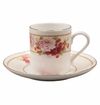 Strawberry Peony Bone China Espresso Cup & Saucer Set