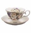 White Rose & Violet Bone China Tea Cup & Saucer Set