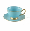 Satin Shelley Bone China Peacock Blue Tea Cup & Saucer Set