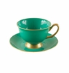 Satin Shelley Bone China Hunter Green Tea Cup & Saucer Set