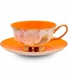 Satin Shelley Orange Bone China Tea Cup & Saucer Set