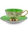 Satin Shelley Green Bone China Tea Cup & Saucer Set