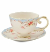 Blue Vintage Rose Tea Cup & Saucer Set