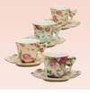 Rose Chintz Demitasse Cup & Saucers with Butterfly Handle (Assorted Set of 4)