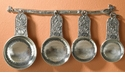 Crosby & Taylor (Tin Woodsman) Pewter Bird Measuring Cups with Wall Display Strip