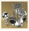 Crosby & Taylor (Tin Woodsman) Pewter Fleur de Lys Measuring Cups with Pewter Display Post