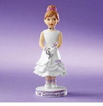 Enesco Growing Up Girls Brunette First Communion Figurine
