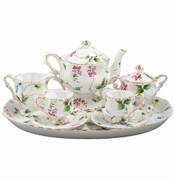 Child's Porcelain Tea Set with Pink and Blue Flowers (10 pcs.)