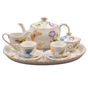 Child's Porcelain Tea Set with Butterflies (10 pcs.)