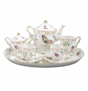 Child's Porcelain Tea Set with Dragonflies and Ladybugs