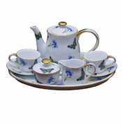 Blue Butterfly 10 Piece Porcelain Child's Tea Set
