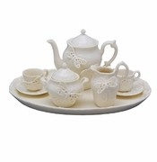 Creamware Sculptured Butterfly 10 Piece Child's Tea Set