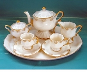 Cream Porcelain Gold Trimmed 10 Piece Child's Tea Set