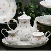 Blue Vintage Rose Small 4 Piece Tea Set