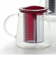 RSVP Tea Control Teapot with Brew Stop Infuser - Red