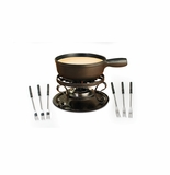 Swissmar Lugano 9 Piece Cheese Fondue Set - Black Matte