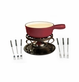 Swissmar Lugano 9 Piece Cheese Fondue Set - Red