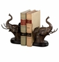 Bronzed Iron Elephant Head Bookends