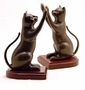 SPI Brass Curious Cat Bookends with Wood Base