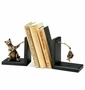 SPI Home Fishing Cat Brass & Wood Bookend Pair