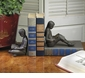 Dessau Home Children Reading Bookends Bronze Iron