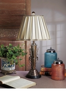 Dessau Home Antique Brass Lamp with Beige Pleated Shade