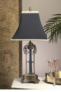 Dessau Home Antique Brass & Black Lamp with Swag Chain & Black Shade