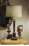 Dessau Home Antique Brass & Black Square Base Lamp with Stripe Shade