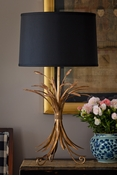 Dessau Home Antique Gold Wheat Lamp with Black Shade