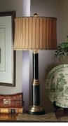 Dessau Home Antique Brass & Black Lamp with Striped Shade