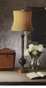 Dessau Home Wood And Black Finish Brass Lamp with Tan Striped Shade
