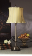 Dessau Home Antique Brass Lamp with Striped Shade