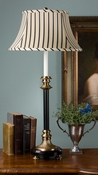 Dessau Home Antique Brass & Black Footed Buffet Lamp with Stripes